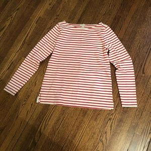 J crew red striped top